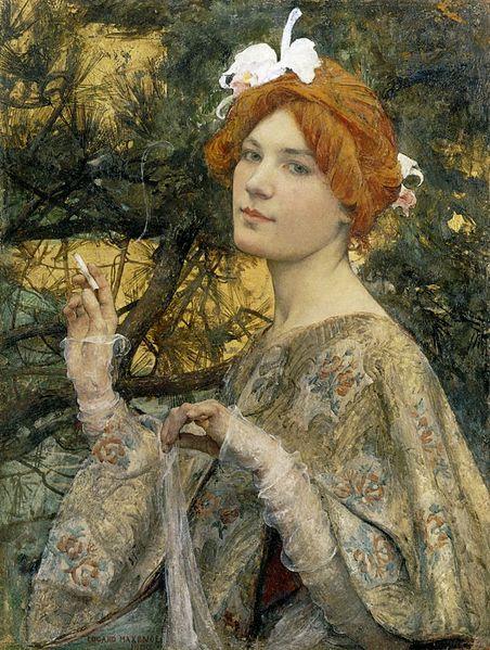 Edgar Maxence 1900 Γυναίκα με Ορχιδέα. Λάδι σε μουσαμά.