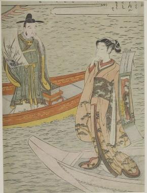 Κινέζος γραμματικός με ζωγραφιά ορχιδέας και Γιαπωνέζα με πάπυρο. 1769-1770 Suzuki Harunobu.