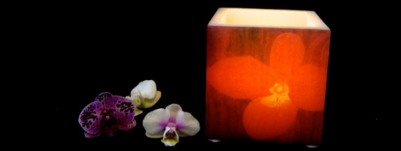 The orchid candle, it looks like a volcano of light.