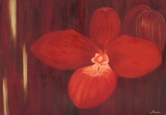 Ο πίνακας που απεικόνιζε την ορχιδέα. Τίτλος:Ηφαίστειο Λάδι σε καμβά 100x70εκ